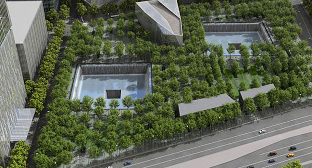Overview of 9/11 Memorial (Photo courtesy of PWP Landscape Architecture)