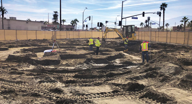 Specialized skill was required to lay out and dig the art structure footings. Since no engineering plan was available, all dimensions had been handset. (Photo: Urban Habitat)