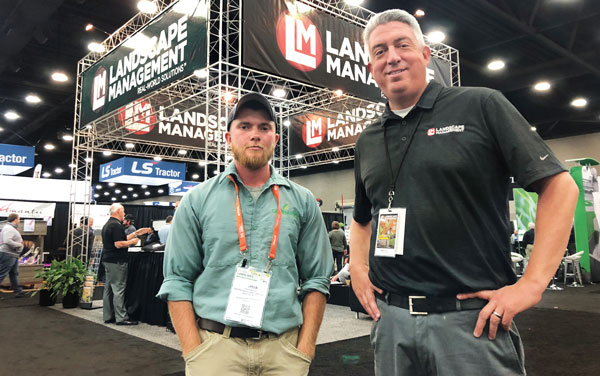 """Cover model At GIE+EXPO, LM Editor-in-Chief Seth Jones (right) ran into the model for our August 2019 """"Start Your Engines"""" cover, Josh Willis of Greenscapes Land Care, Worton, Md. (Photo: Brian Bohannon)"""
