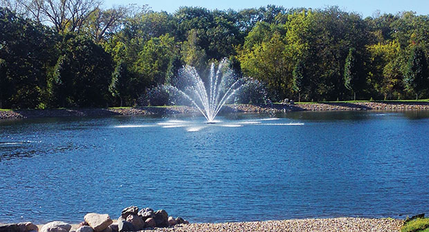 Pond with a fountain (Photo: A+ Watercare and Fountains)