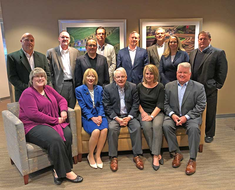 The 2020 RISE governing board includes: Back row: Michael Kropp, Wilbur-Ellis on behalf of Primera, Inc.; Scott Gault, WinField United; Jose Milan, Bayer Environmental Science; Michael Maravich, Sipcam Agro USA; Brian Rowan, SiteOne Landscape Supply; Neil Cleveland, PBI-Gordon Corporation; Karen Larson, Clarke, Treasurer; and Scott Todd, Central Life Sciences. Front row: Stephanie Jensen, BASF, vice chair; Kathy Bishop, Lebanon Seaboard Corporation; Bill Culpepper, SePRO Corporation; Carrie Tackema, Nufarm Americas, Inc., co-chair of the RISE Strategic Oversight Council; and Sean Casey, Nufarm Americas, Inc., chair. Not pictured: Daryl Allen, Corteva Agriscience, and Scott Reasons, Syngenta. (Photo: RISE)