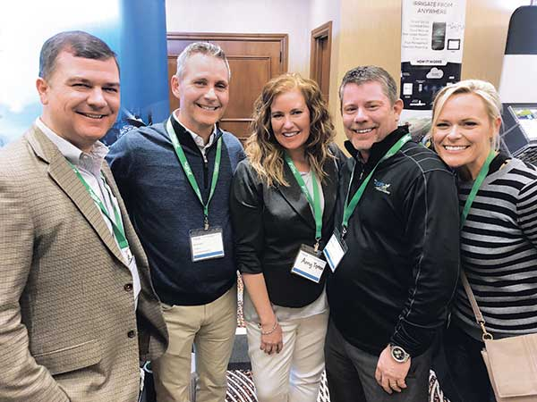 """Lt. Col. (Ret.) Rob """"Cujo"""" Teschner, LM Publisher Bill Roddy, Amy Tipton, Mark Tipton, CEO, The Aspire Co., and Ashly Neneman, GM, Sun Valley Landscaping at Aspire users conference. (Photo: LM Staff)"""