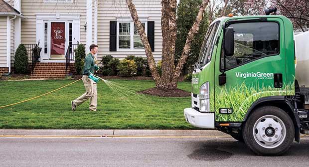 Virginia Green Lawn Care spray tech (Photo: Tony Ventouris)