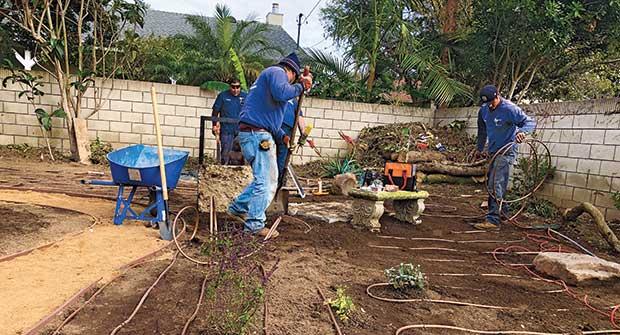 Team laying drip irrigation (Photo: Enviroscape L.A.)