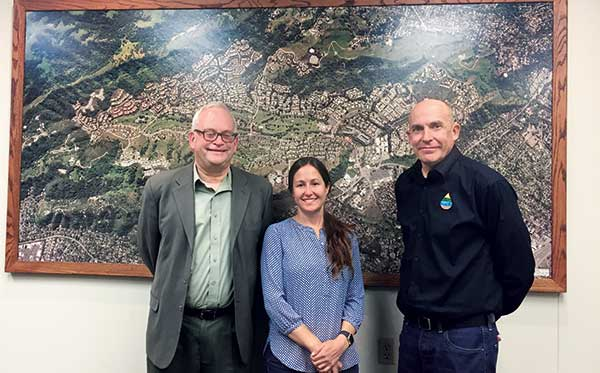 Kevin Heverin, director of marketing at ETWater; Rebecca Pollen, landscape manager at Rossmoor; and Gregg Black, manager at ETWater. (Photo: LM Staff)
