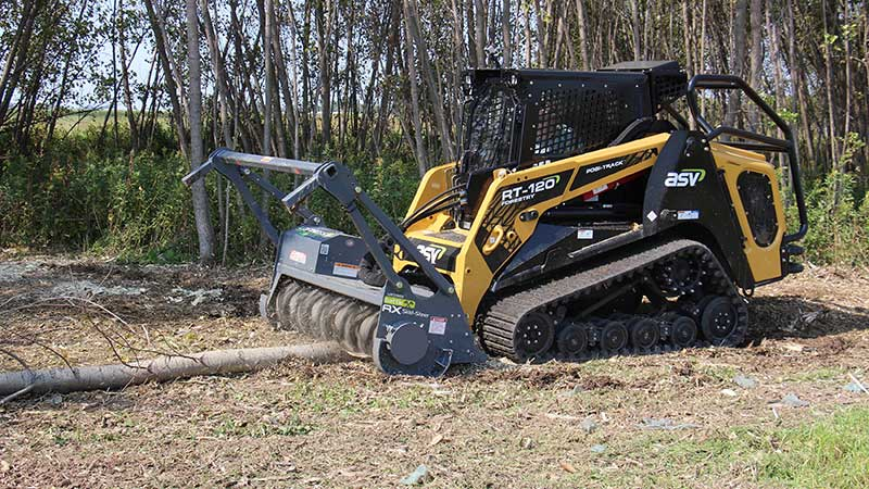 ASV Holdings Inc. partnered with Loftness Specialized Equipment to design a specialized Loftness S-Series Battle Ax mulching head for optimized performance with ASV machines. The skid steer and compact track loader attachment available through ASV's dealer network is designed to produce a finer mulch with fewer passes. (Photo: ASV)