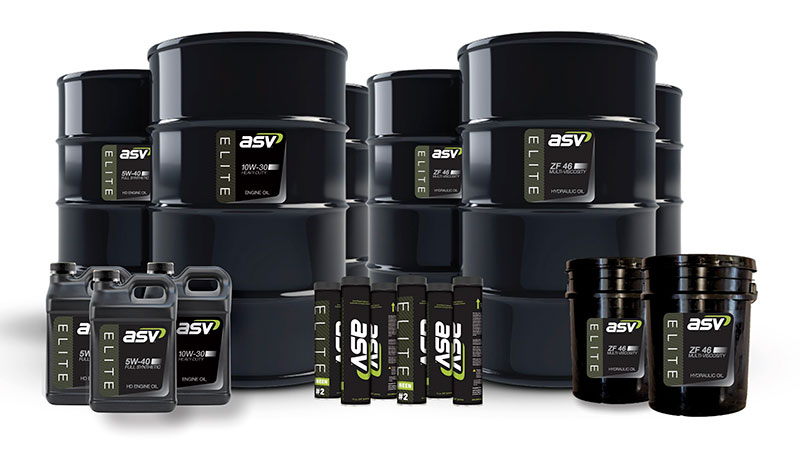 ASV's Elite line of lubricants is available in grease tubes, gallon jugs, pails and drums. (Photo: ASV Holdings)
