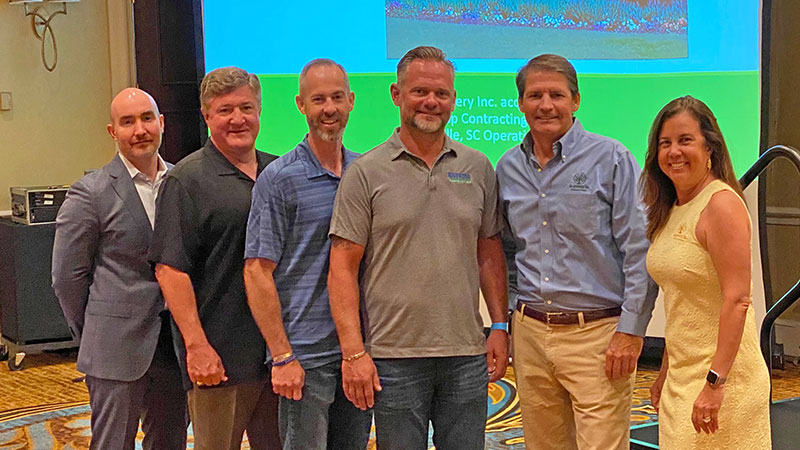 From left to right: Ben Campsey, CFO of The Greenery; Bill Davoli, COO of The Greenery; Brian Weirman , director of operations of Rivertop Contracting; Rob Atema, owner of Rivertop Contracting; Lee Edwards, CEO of The Greenery; and Janet Davoli, CTO of The Greenery. (Photo: The Greenery)