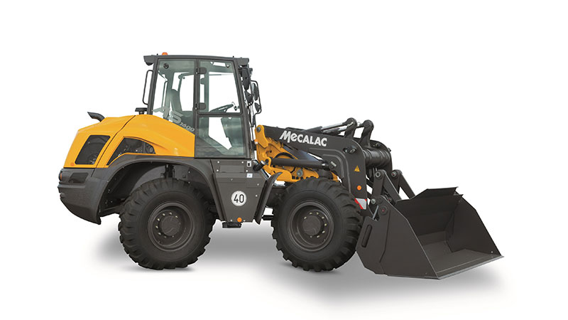 Mecalac's AS1600 swing loader has the ability to pivot its bucket 90 degrees to either side. (Photo: Mecalac)