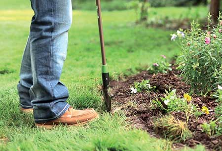 Person digging to install edging (Photo: Coyote Landscape Products)