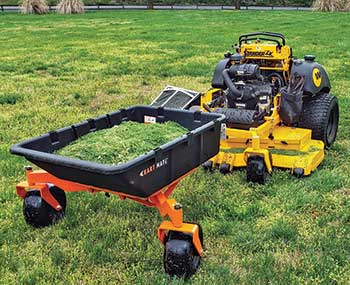 Trailer attachment to mower (Photo: Mulch Mate)