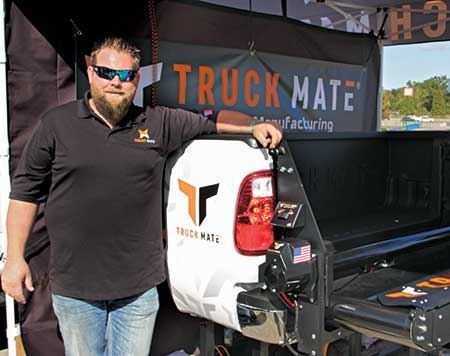 Nick Carlson with Truck Mate product (Photo: LM Staff)