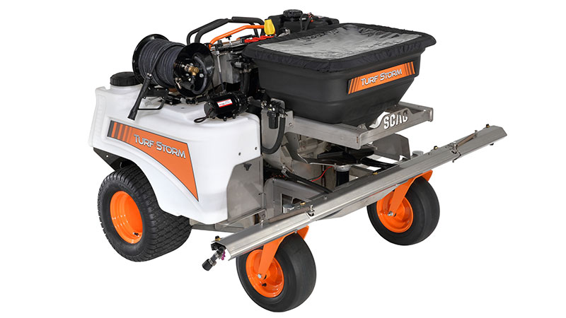Scag Power Equipment will debut its new Turf Storm stand-on spreader-sprayer product during a live event in October. (Photo: Scag Power Equipment)