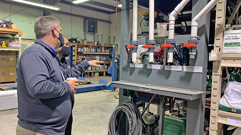 Fall Field Trip attendees got a chance to take a close look the organization system in Grunder Landscaping Co.'s shop. (Photo: LM Staff)