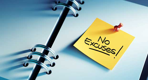 "Notebook with ""no excuses"" post-it note (Photo: XtockImages/iStock / Getty Images Plus/Getty Images)"