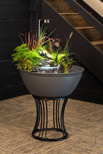 Aquascape's AquaGarden mini pond kit water will now come in a steel gray color and a stand to elevate the container. (Photo: Aquascape)