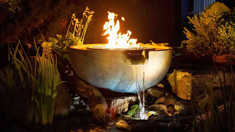 Aquascape's Fire and Water Spillway Bowl combines an Aquascape fountain with a flame. (Photo: Aquascape)