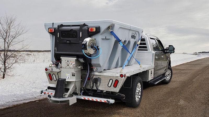 Designed for ½-ton trucks and larger, Hilltip's IceStriker electric power spreaders handle granular salt, sand and gravel and liquid deicer. (Photo: Hilltip)