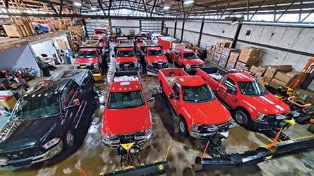 Fleet of landscape trucks (Photo: Steve Stoll)