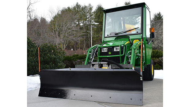 Artillian Tractor's new 72-inch-wide hydraulic angle plow option created for various vehicles. (Photo courtesy of Artillian Tractor)