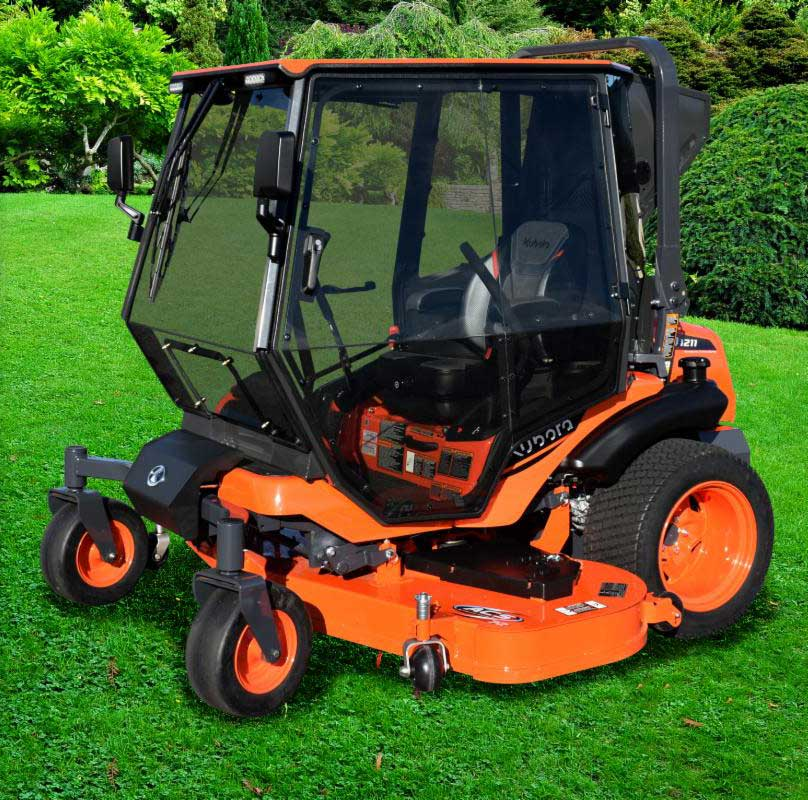 Curtis Industres' new air-conditioned cab is designed for the 60-inch or 72-inch deck the Kubota ZD1211 zero-turn mower. (Photo: Curtis Industries)