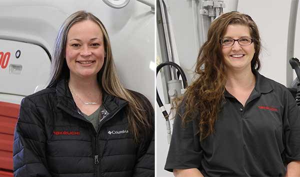 Megan McFarlane (left) and Ashleigh Gross (right). (Photos courtesy of Takeuchi-U.S.)