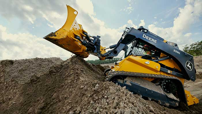 John Deere has added SmartGrade technology for grade control to its new 333G compact track loader. (Photo: John Deere)