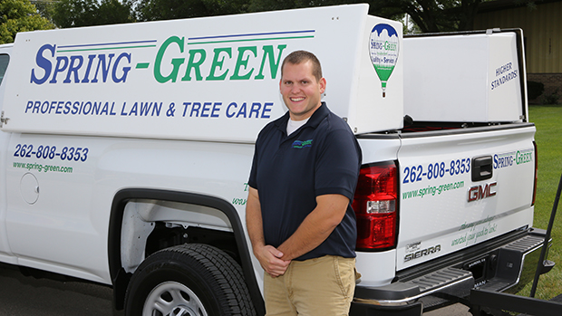 Mike Valestin, a Spring-Green Lawn Care franchisee in Mequon, Wis., explains that his business grew by about 15 percent in 2020, despite COVID-19. (Photo courtesy of Spring-Green Lawn Care.)