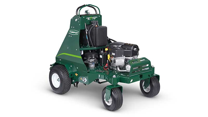 Turfco's new TurnAer X10 stand-on aerator boasts features such as zero-turn agility, auto depth control, top aerating speed of 7 mph and optional drop seeder attachment. (Photo: Turfco)