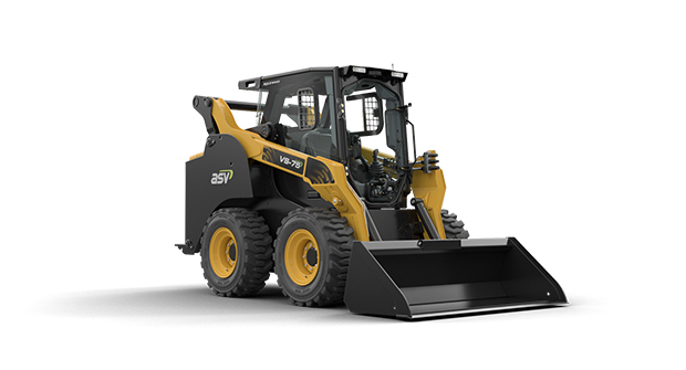 The VS75 features a 5,920-pound breakout force and a 3,500-pound-rated operating capacity and the new skid-steers benefit from a new cab with 360-degree visibility. (Photo courtesy of ASV Holdings)