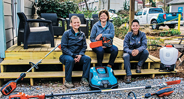 Focused on solutions Pam Dooley (center), owner of Plants Creative of Scottdale, Ga., says having employees like Maka Provost (left) and Hollie Arnold (right) engage with clients has made a big difference for her business. (Photo: Plants Creative)