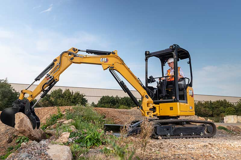 Cat introduced the its 302.7 CR, 303 CR (pictured) and 303.5 CR hydraulic mini excavators. (Photo: Cat)