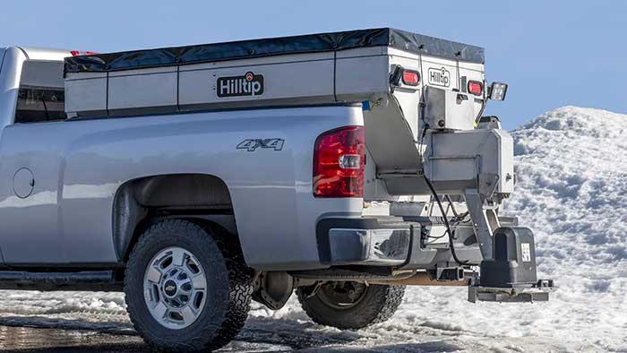 Hilltip's IceStriker 2000-3300 SSA/SSC stainless-steel salt spreaders, designed for use on three-quarter-ton trucks. (Photo: Hilltip)