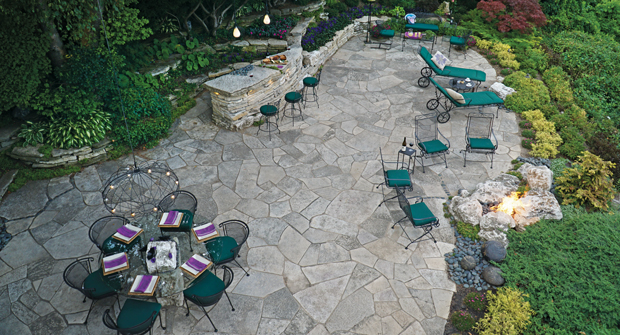 While the terrace garden serves as a space for entertaining, the real function of the patio is to capture and manage stormwater to prevent the erosion of the bluff that the property overlooks. (Photo courtesy of Kimber Johnson)