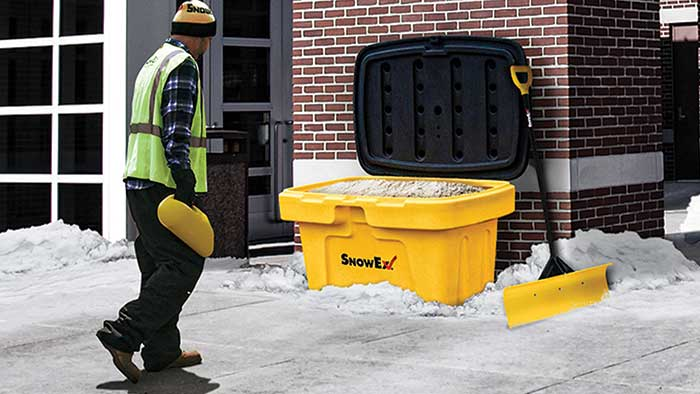 The SnowEx all-weather storage containers will be available in four sizes including including 3, 6, 12 and 18 cubic feet. (Photo: SnowEx)