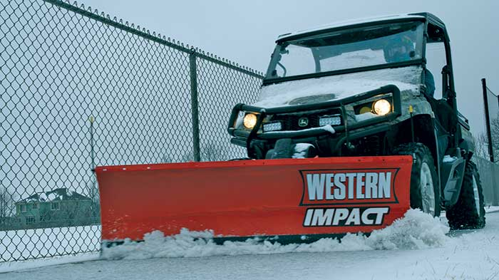Western Products' Impact mid-duty UTV plow features hydraulic positioning and comes in 5-foot-6-inch and 6-foot widths. (Photo: Western Products)