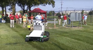Scythe demonstrates its autonomous mower prototype at a Yardmaster job site in Columbus, Ohio, as part of its nationwide tour (Photo: LM Staff)