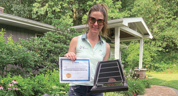 Brittany Auman says the drainage certification course has helped her business gain credibility with potential clients. (Photo: Auman Landscape)