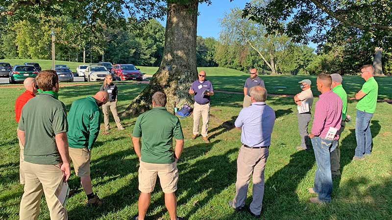 Ronda Roemmelt Sneider, Kelly Lewis and Mike DeGiorgio share a little bit about Ruppert Nursery, a separate entity from the landscaping business. (Photo: LM Staff)