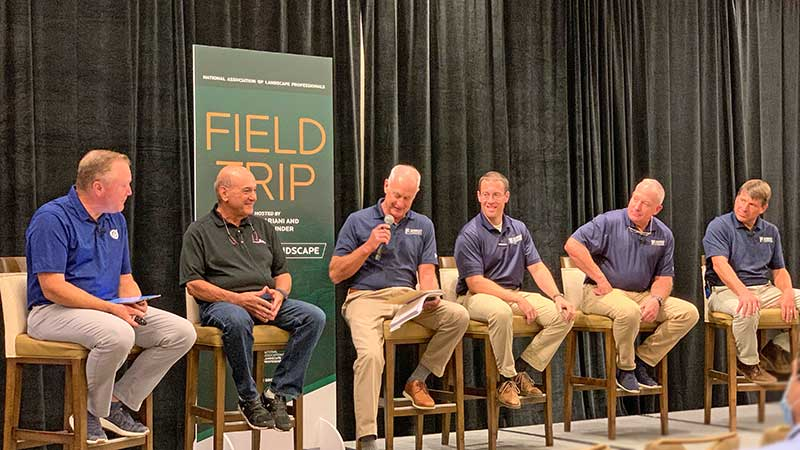 Marty Grunder, Frank Mariani, Craig Ruppert, Tom Barry, Bob Jones and Phil Key recap what NALP Field Trip tourgoers saw while at Rupper Landscape's Laytonville, Md., facility. (Photo: LM Staff)