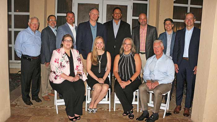 The 2021-2022 RISE governing board members (from left standing) include Bill Culpepper, SePro Corp.; Jose Milan, Bayer; Todd Mason, Sipcam Agro USA; Brian Rowan, SiteOne Landscape Supply; Daryl Allen, Corteva Agriscience; Blaine Pinkerton, Nufarm Americas; Nadia Sinno, FMC Corp.; and Scott Lazarczyk, SBM Life Sciences. Seated from left, Stephanie Jensen, chair, BASF; Megan Provost, RISE president; Karen Larson, treasurer, Clarke; and John Johnson, Prokoz. Not pictured: John Smith, vice chair, Amguard Environmental Technologies; Kathy Bishop, Lebanon Seaboard Corp.; and Scott Reasons, Syngenta. (Photo: RISE)